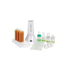 Wide-angle view of Clean+easy waxing spa student kit with complete tools and accessories