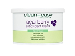 Front view of Clean + easy Acai berry hard wax container