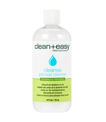 Capped Clean+easy Cleanse pre-wax cleanser in a 16-ounce bottle