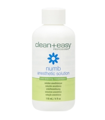 Front view of the capped numb anesthetic solution bottle with label text