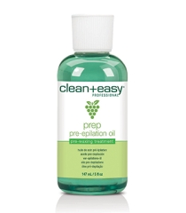 A frontal view of Clean + Easy Pre Epilation Wax Oil in a 5-ounce capped container