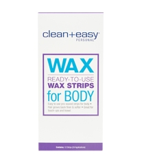 Tall vertical rectangle of Clean + Easy Ready-To-Use Wax Strips for Body pack