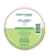 Frontal image of clean+easy Muslin Epilating Strips roll with label text