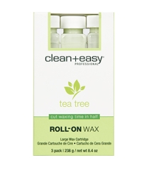 Front view of clean + easy Professional Roll-On Wax in Tea Tree packaging with label text
