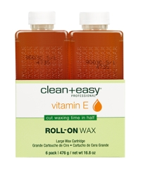 Front view of 6 pieces large cartridge of clean + easy Professional Vitamin E Roll-on Wax