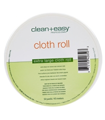 Front view of a wax remover cloth with detailed text