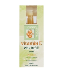 Front view of clean+easy vitamin E wax refill 3piece in size small