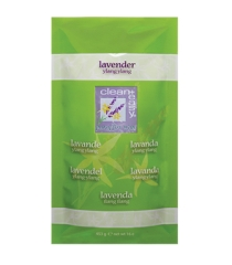 Front view of  16-ounce sealed pack of clean+easy heat therapy moisturizer in Lavander Ylang-Ylang variant