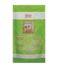 Sealed pillow pack of Clean+Easy paraffin wax in Citrus Aloe variant