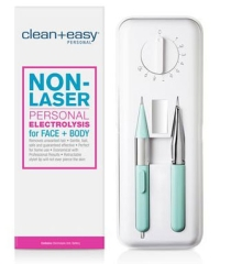 Vertical rectangle box of Clean + Easy Personal Electrolysis for Coarse Hair with its actual tool on the side