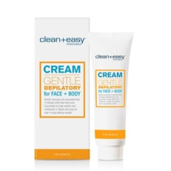 Wide view of  Cream Gentle Depilatory For Face + Body from Clean + Easy packaging with tube-type container on the side