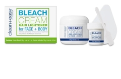 Comprehensive shot of  Bleach Cream Hair Lightener packaging  with a set of hair dyeing process and applicator on the side
