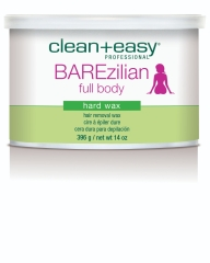 Close-up view of Barezilian full body hard wax  from Clean+Easy in a 14-ounce jar