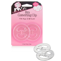 Close up of a sealed wall-hook ready pack of a clip for bra with printed label text