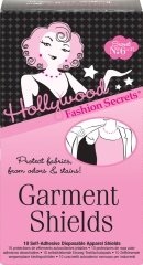 Front view of Hollywood Fashion Secrets No. 6 Garments shield pack with printed label text
