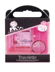 Front view of Hollywood Fashion Secrets Travelette Kit transparent pack with label text