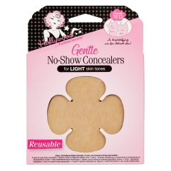 Frontal view of a wall-hook ready packaging of HFS reusable no-show concealer for light skin