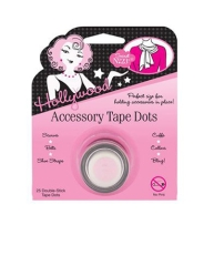 Fabric accessory tape dots in a wall-hook ready packaging with printed label text isolated in white color background