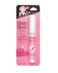 Frontage of a sealed wall-hook ready pack of Hollywood Fashion Secrets mini Haute heels soothing spray
